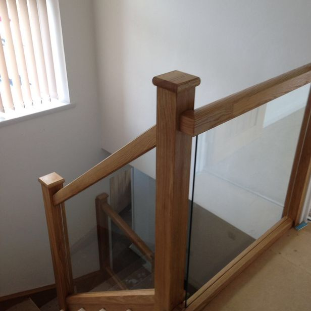 Staircase with glass panels